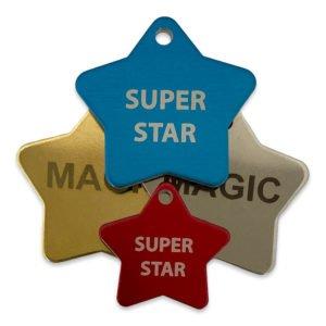 Star Shape Design Tags Engraved